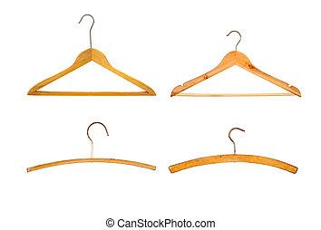 Set of coat hangers isolated