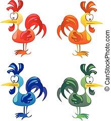 Set of cocks isolated on white background.