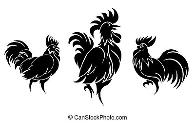 Set of cocks silhouettes for logo or tattoo. Animal and...
