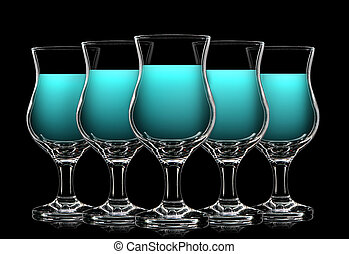Set of cocktail glasses with blue curacao on black