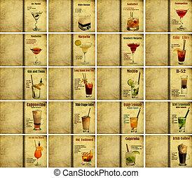 Set of cocktail recipes - Set of Old,vintage or grunge...