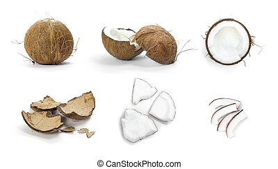 Set of coconut. Close up. Isolated on a white background