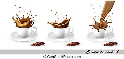 Set of coffee and cappuccino splash in cup. Vector...