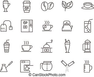 Set of Coffee and Tea line vector icons.