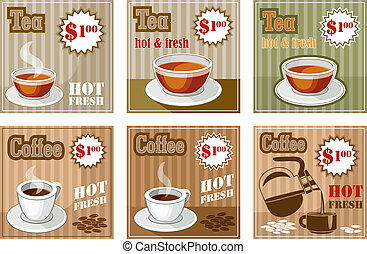 Set of coffee and tea menu card. vector illustration