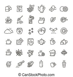 Set of Coffee and Tea Related Vector Line Icons