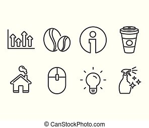 Coffee beans, Upper arrows and Computer mouse icons. Light...