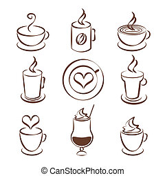Set of coffee cup vector symbols - Set of brown and white...