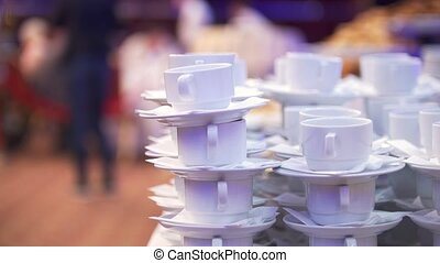 Set of coffee cups on catering service at conference, close...