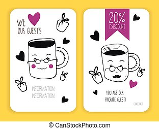 set of coffee discount cards. template for your design - set...