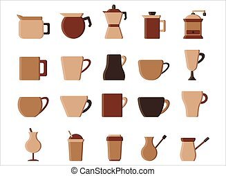 Set of coffee flat icon. vector illustration