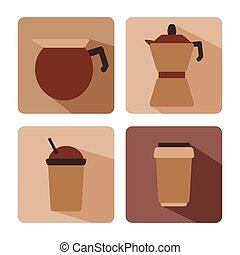 Set of coffee flat icon. vector illustration.