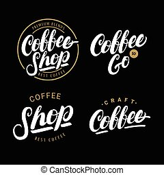Set of coffee hand written lettering logos, labels, badges.
