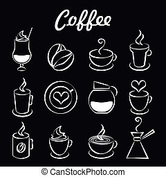 Set of coffee icons on black