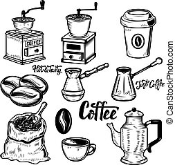 Set of coffee icons on white background. Coffee beans, mills. Ve