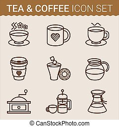 Set of coffee icons. Vector illustration