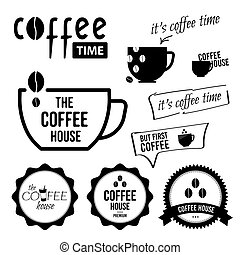 Set of coffee labels and badges. Vector black and white illustrations.