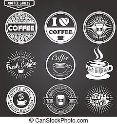 Set of coffee labels, design elements, emblems and badges. Isolated vector illustration in vintage style.