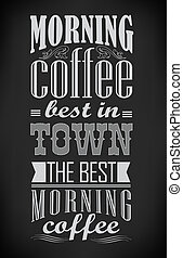set of coffee labels on chalkboard - Poster lettering take...