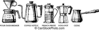 set of Coffee preparation - Vector hand drawn illustration...