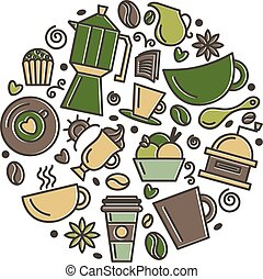Set of coffee theme. Line art draw icons in the circle. Vector illustration