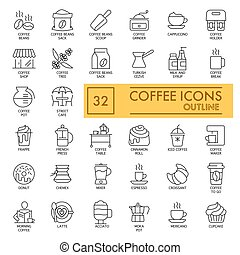 Set of Coffee vector icons on white background. Line simple icons. Coffee cncept. Outline design. Eps 10