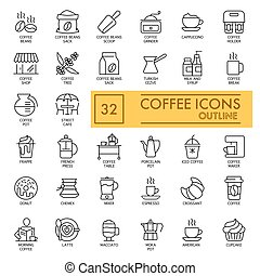 Set of Coffee vector icons on white background. Line simple icons. Coffee concept. Outline design. Eps 10