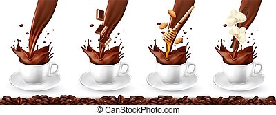 Set of coffee with different flavors and splash in cups. Chocolate, almond, honey, vanilla. Vector illustration.