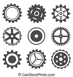illustration of set of different cog wheel on isolated background