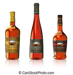 Set of cognac bottles