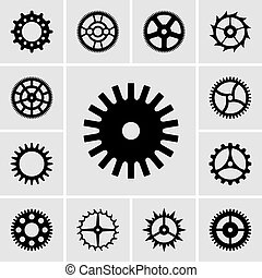 Set of cogwheel icons