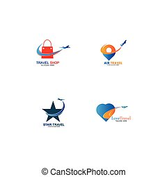 Set of collection travel logo with air plane concept design vector