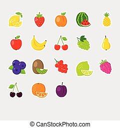 set of colofrul fruit icons