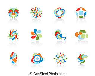 set of color abstract elements