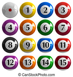 Set of color american billiard balls isolated on white...