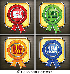 Set of color award labels on black