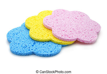set of color bath sponges isolated