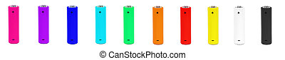 Set of color batteries isolated on white background