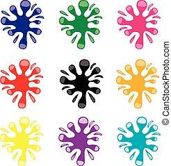 Set of color blots on white background, vector illustration