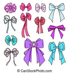 Set of color bows for the design congratulatory cards, gifts, souvenirs. Drawing sketches