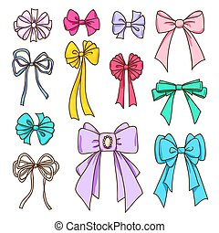 Set of color bows for the design