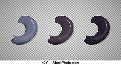 Set of color brush stroke isolated on plaid background.