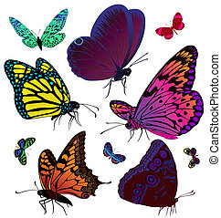 Set of color butterflies of tattoos - Vector set with the ...