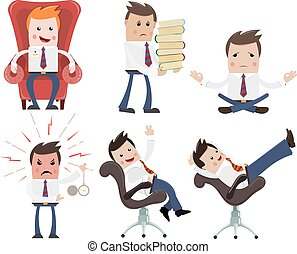Set of color Cartoon businessman on a white background. Businessmen with different