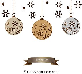Set of color Christmas balls hanging on white background