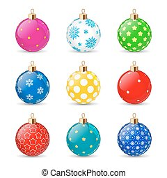 Set of color Christmas balls on a transparent background. Stocking Christmas decorations. Stocking element New Years. Transparent vector object for design, mock-up.