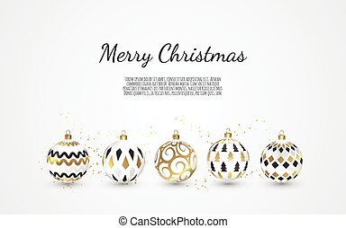Set of Color Christmas balls on white background, illustration