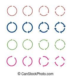Set of color circle vector arrows.