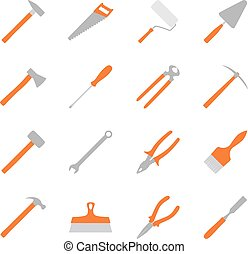 Set of color construction tools, vector illustration