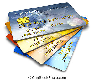 Set of color credit cards isolated on white background *** I...